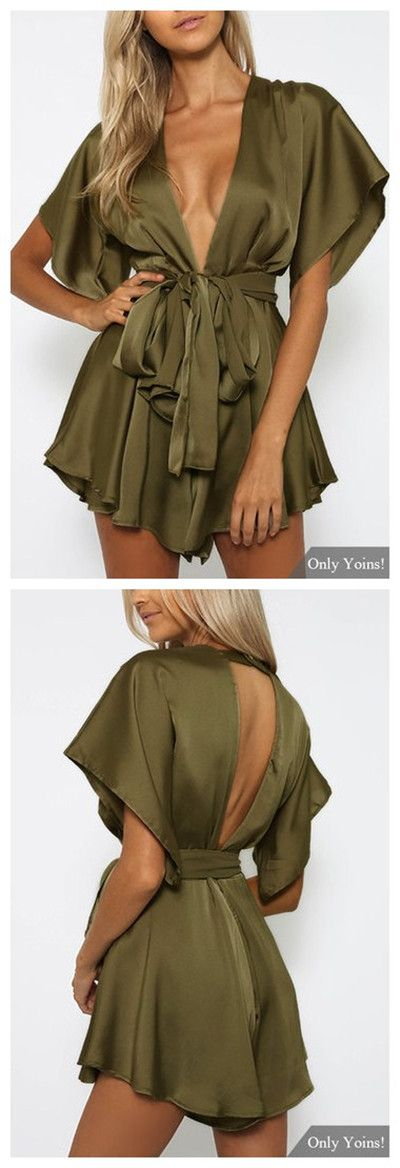 Army Green V-neck Cut Out Self-tie Playsuit