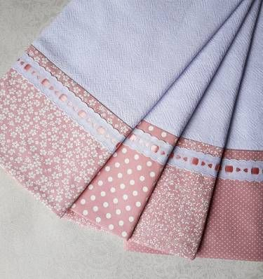 kit com 4 panos de prato com barrado em tecido - roses - cozinha ateliê sorelline