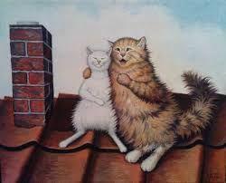 Картинки по запросу коты на крыше рисунок
