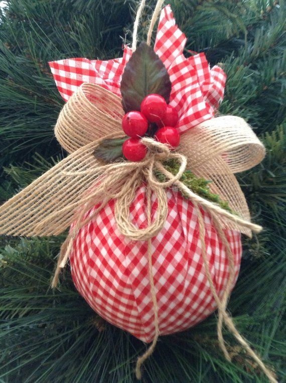 Christmas Ornaments / Red and White Xmas Ornaments / Set of 2 / Gingham  Fabric Xmas Ornaments / Homespun Xmas/ Handmade and Design in Fabric |  Christmas ... - Christmas Ornaments / Red And White Xmas Ornaments / Set Of 2