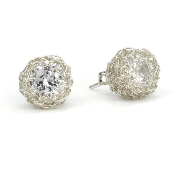 Sterling Silver Swarovski Crystal Crocheted Earrings - so pretty!