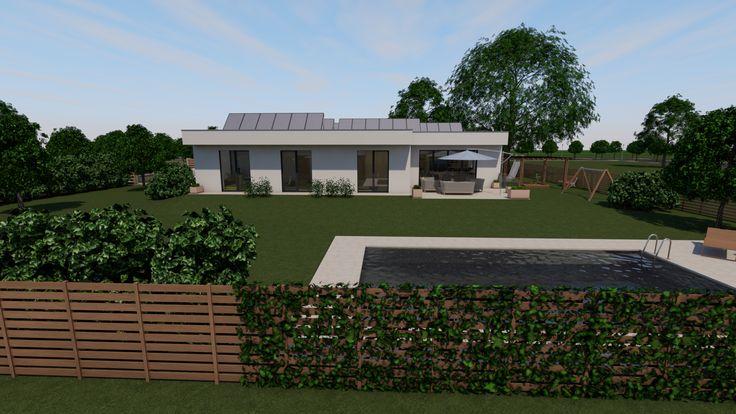 Modern, 5 szobás, 229 m2-es földszintes családi ház mintaterve, alaprajzzal A déli homlokzat és a kert.