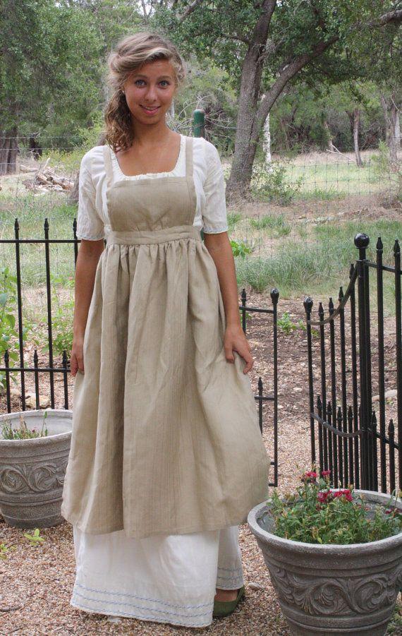 Regency Apron, Jane Austen Linen Apron -  Sense and Sensibilty / Emma