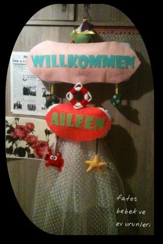 """Keçeden deniz temalı """"Hoşgeldin"""" kapı süsü(kız bebek)/ Sea themed """"Welcome"""" door wreath made with felt(baby girl)"""
