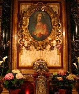 Cappella Sacro Cuore: dipinto su rame Chiesa del Gesu -Rome