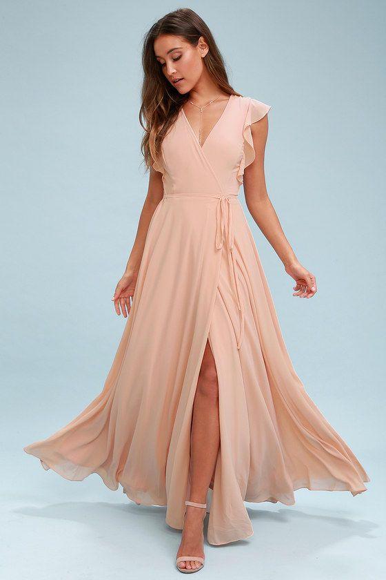 Crescendo Blush Wrap Maxi Dress in 2019  dd2fd54d66