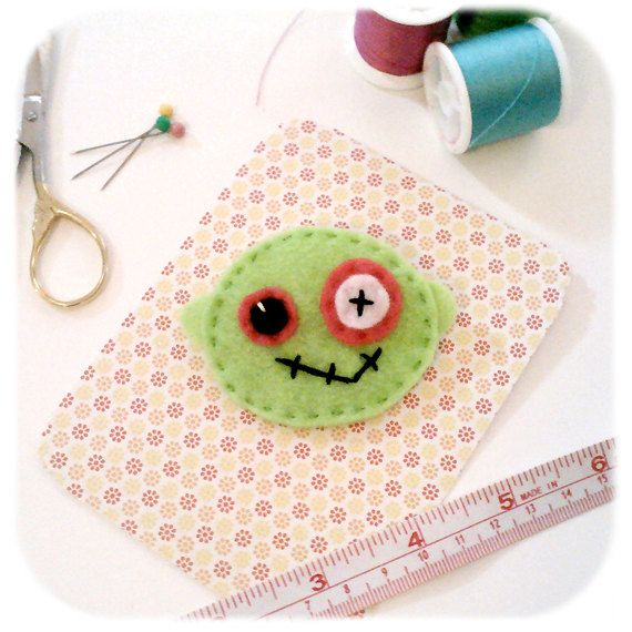 lime green zombie felt pin hand stitched accessory brooch. $10.00, via Etsy.