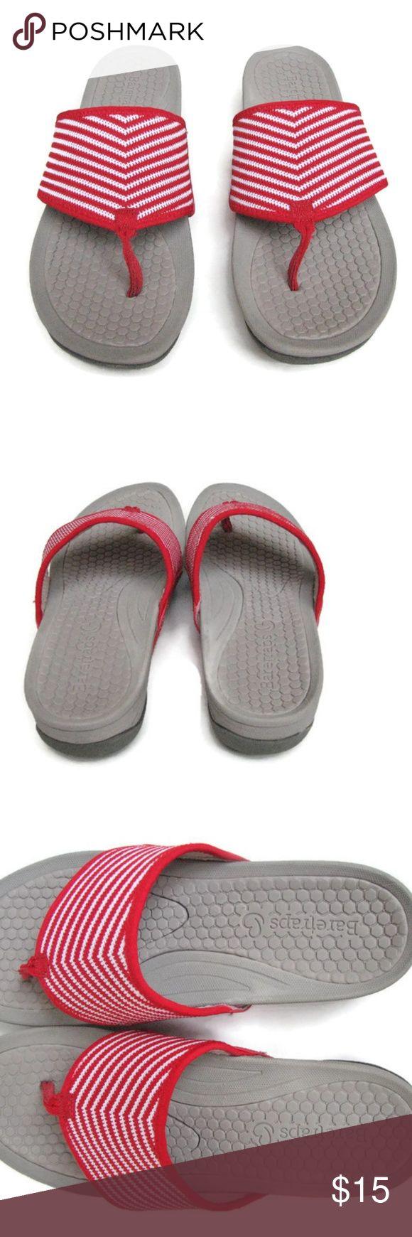 Baretraps Red White Stripe Flip Flops Dasie 8.5M Baretraps Red White Stripe Flip Flops  Fabric uppers, rubber soles Dasie  8.5M Textile upper, balance man made Baretraps Shoes Sandals