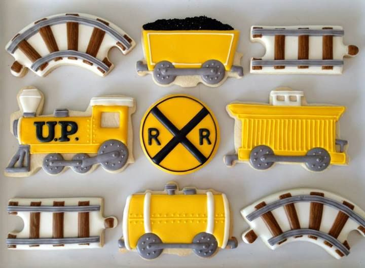 Train Cookies - a little boy's dream cookies ~ Sugar Ed Productions