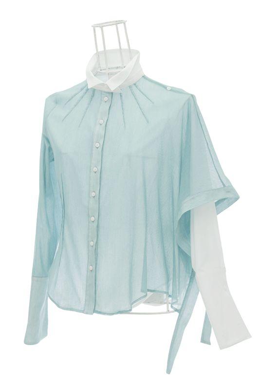 Chemise femme en voile blanc et tulle turquoise SOLINE Ken Okada http://shop.ken-okada.com/fr/8-okada-l-art