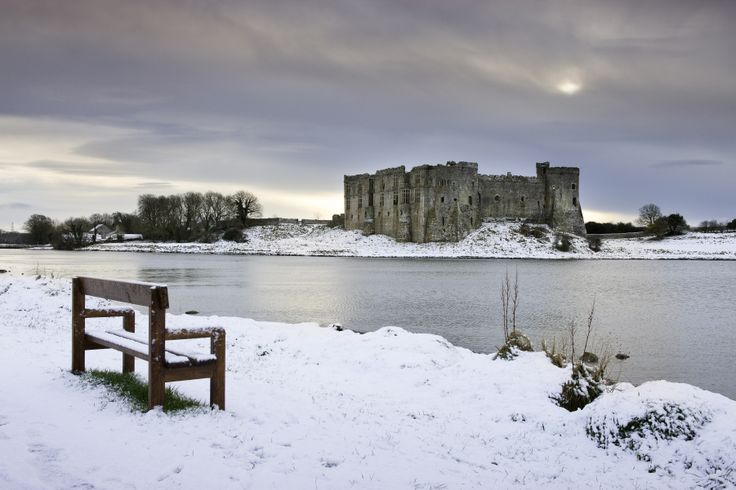Carew Castle in the snow