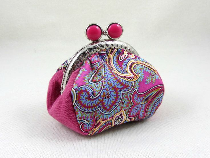 Cotton coin purse, metal frame purse, pink paisley pouch, handmade coin pouch, change purse by JRsbags on Etsy