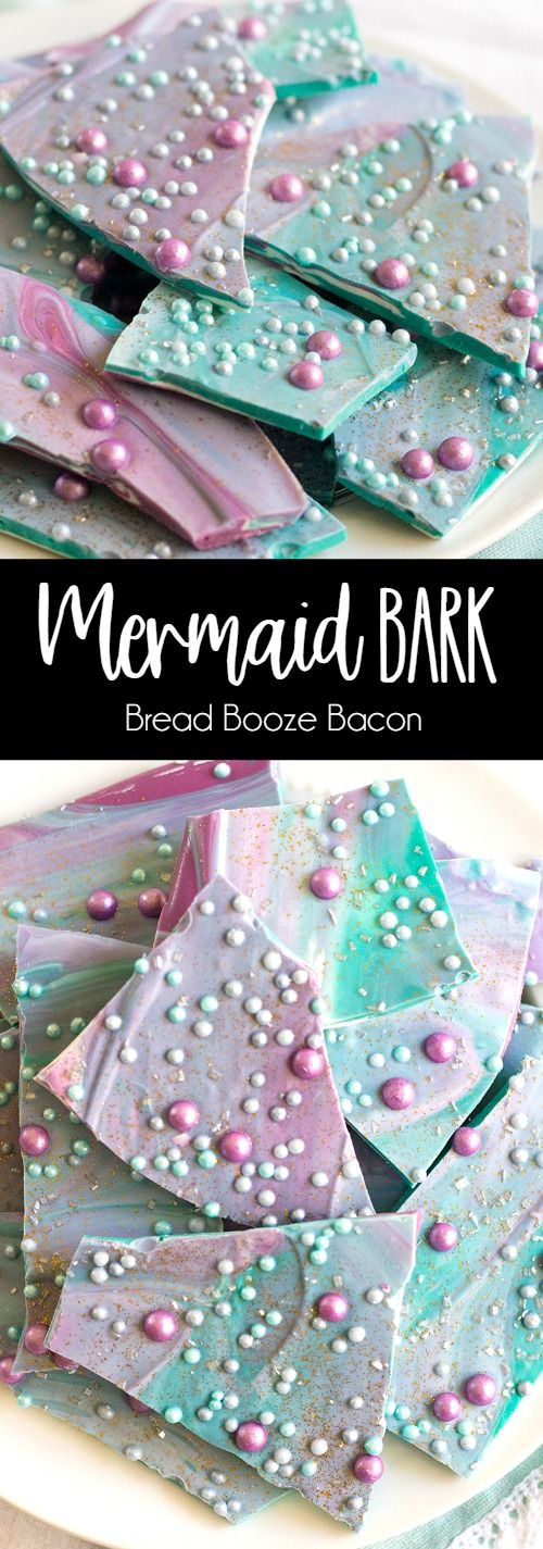 This fun and colorful Mermaid Bark recipe is perfect for birthday parties and pool parties alike. It's an easy treat that will brighten any day! via @breadboozebacon