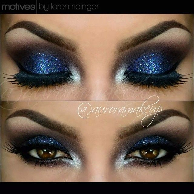 Products @motivescosmetics by @lorenridinger -Eye Shadow Base -Khol eyeliner in ONYX as dark base on mobile eyelid & waterline -Pressed Eye Shadow in VINO , marking the crease and transition color -Pressed eye Shadow in MIDNIGHT , on mobile eyelid -Glitter Pot in MOON DUST , on mobile eyelid -Gel eyeliner in LITTLE BLACK DRESS lining top lashes -Pressed eye Shadow in CRèME FRESH -La La Mineral Volumizing & Lengthening Mascara in BLACK