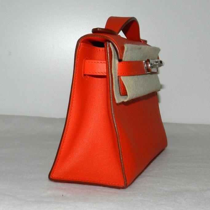 aa2848062f28 Hermes Kelly Mini Pochette Clutch Capucine Swift Phw