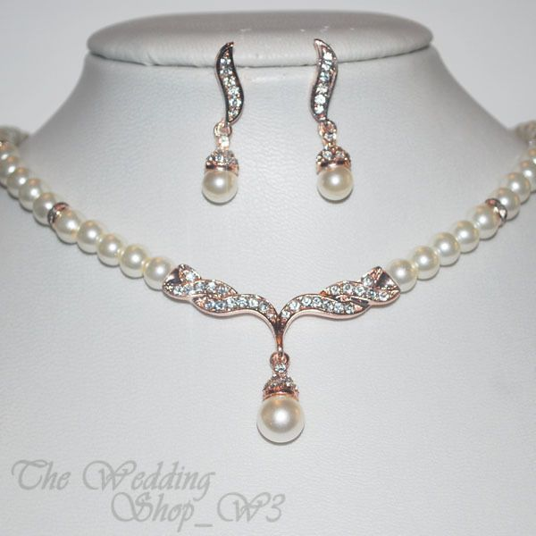 Off-White Pearl & Rose Gold Bridal Jewellery Set Wedding Necklace Studs Earrings
