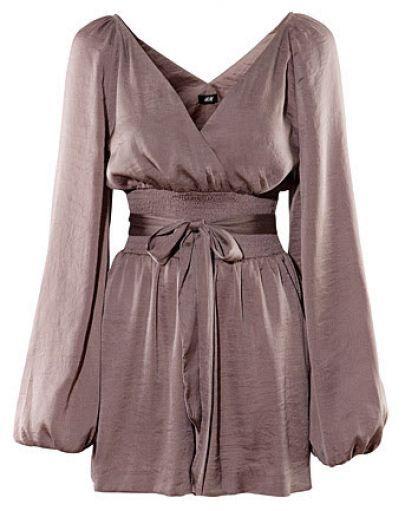 Brown Long-sleeved Bow Belt Dress
