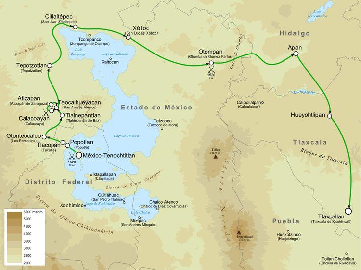 Ruta de escape de los españoles hacia Tlaxcala - Noche Triste - Wikipedia, la enciclopedia libre
