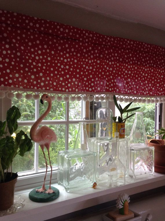 retro kitchen curtain / valence window treatment. new fabric, vintage ball fringe. in red with white polka dots or pink with black polka dot