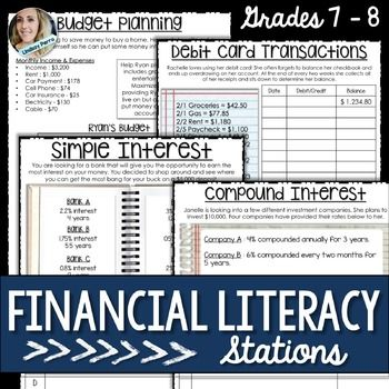 Financial Literacy : Math Stations This set of financial literacy math stations provides students with practice making a budget, using a debit card and working with simple and compound interest. Each station includes a student worksheet as well as a follow up page and hint card.