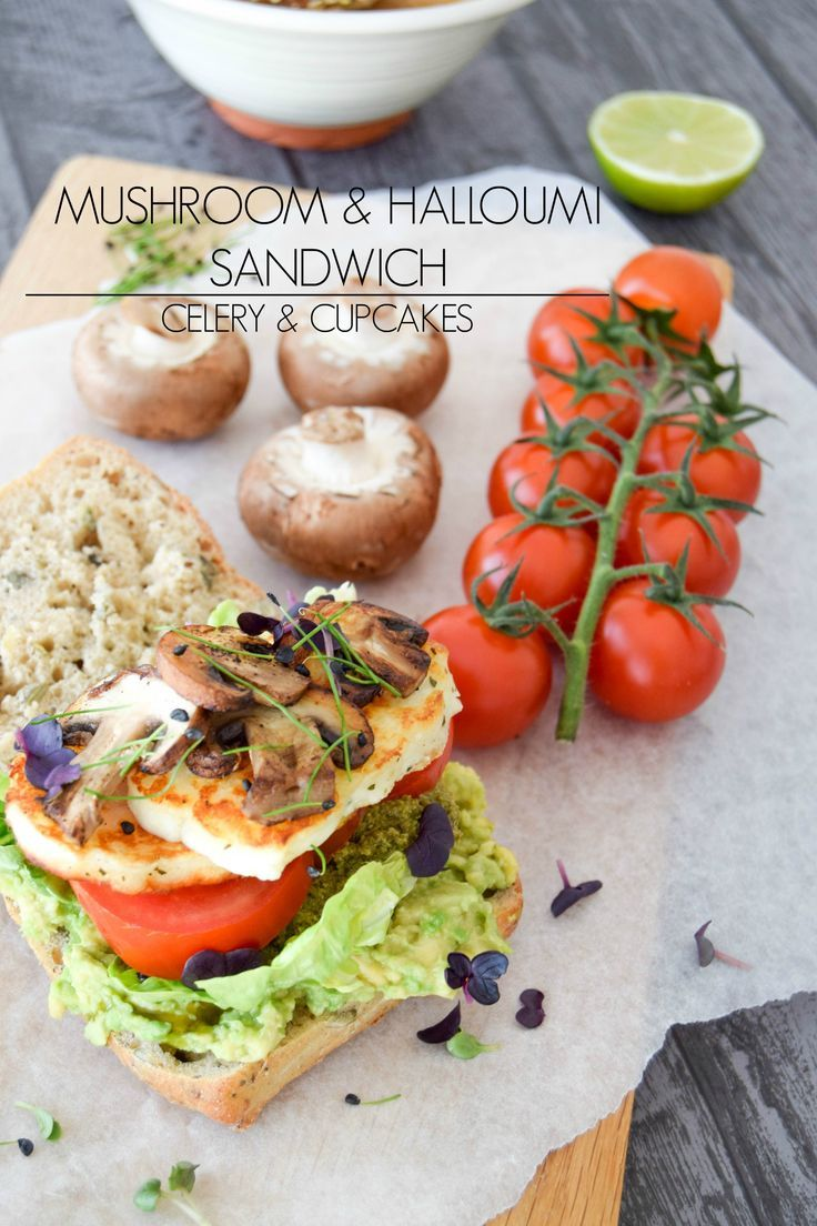 Mushroom & Halloumi Sandwich - Seriously, this is the ultimate sandwich! Why? Well, if creamy avocado mash, salty halloumi cheese and the earthy flavour from the chestnut mushrooms combined with crisp little gem lettuce and sweet tomatoes and a slathering