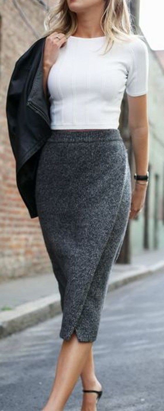 Latest fashion trends: Street style   White crop top, leather jacket and grey pencil skirt