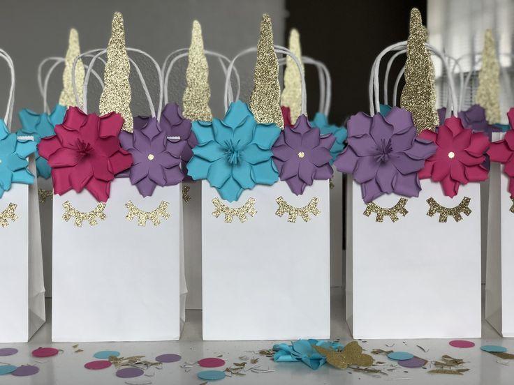 BRIGHT PINK, BLUE, and PURPLE UNICORN Birthday Party Favor Bags!!!  #unicorn #unicornparty #unicorncake #rainbow #rainbowparty #firstbirthday #littlegirl #birthdaygirl #birthday #birthdayparty #birthdays #party #partytime #partygirls #partydecor #eventplanner #event #events #eventos #houston #houstontx