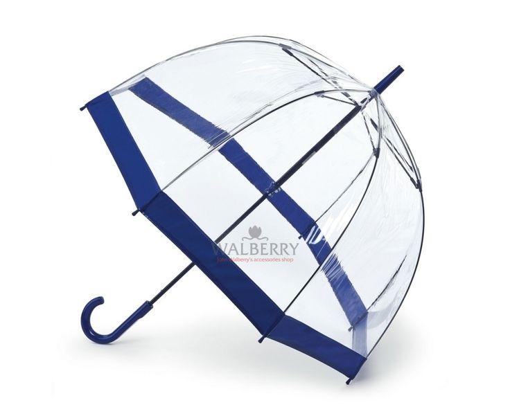 Женский прозрачный зонт-трость Fulton Birdcage-1 - L041 - Navy (Синий)