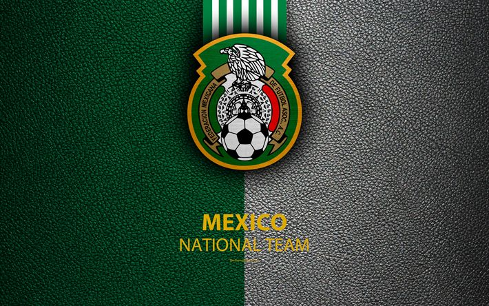 Download wallpapers Mexico national football team, 4k, leather texture, North America, Mexican Football Federation, logo, emblem, Mexico, football