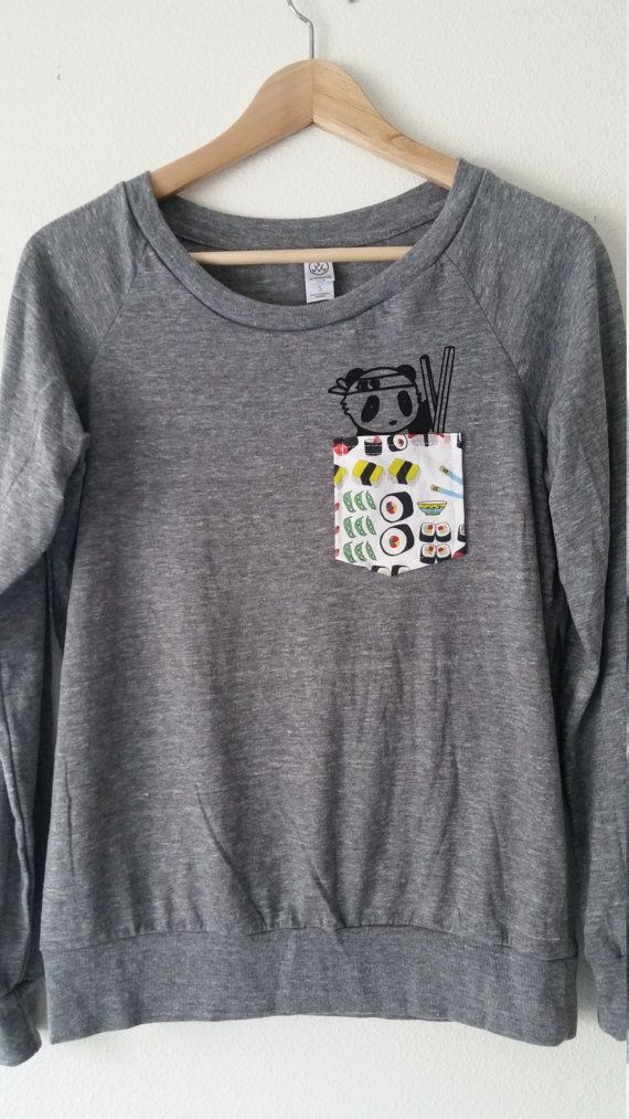 Super soft Alternative Apparel long sleeve with sushi chef panda in a sushi pocket