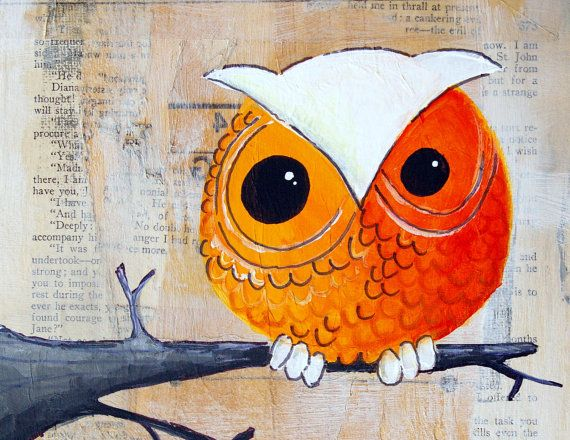 Owl print- One little orange and white owl-  Big Print in 8.5x11 inches - owl, feather, lion, tree, moon, mushroom, peacock.... you pick