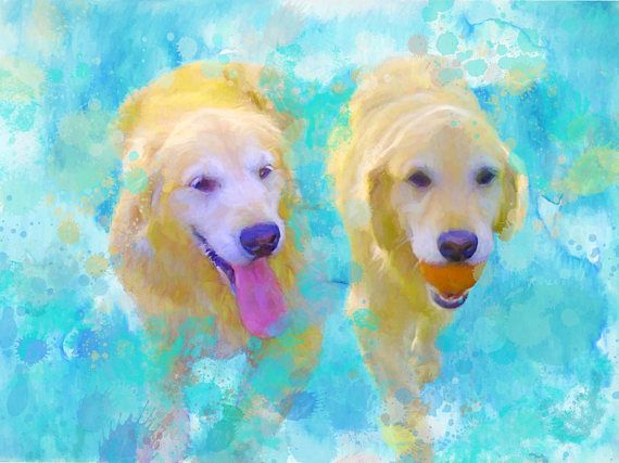 Custom dog portrait Two Dogs portrait Dog portrait custom