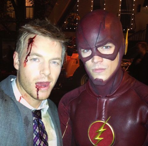 Rick Cosnett (Eddie Thawne) and Grant Gustin (Barrry Allen) on the set of The Flash.