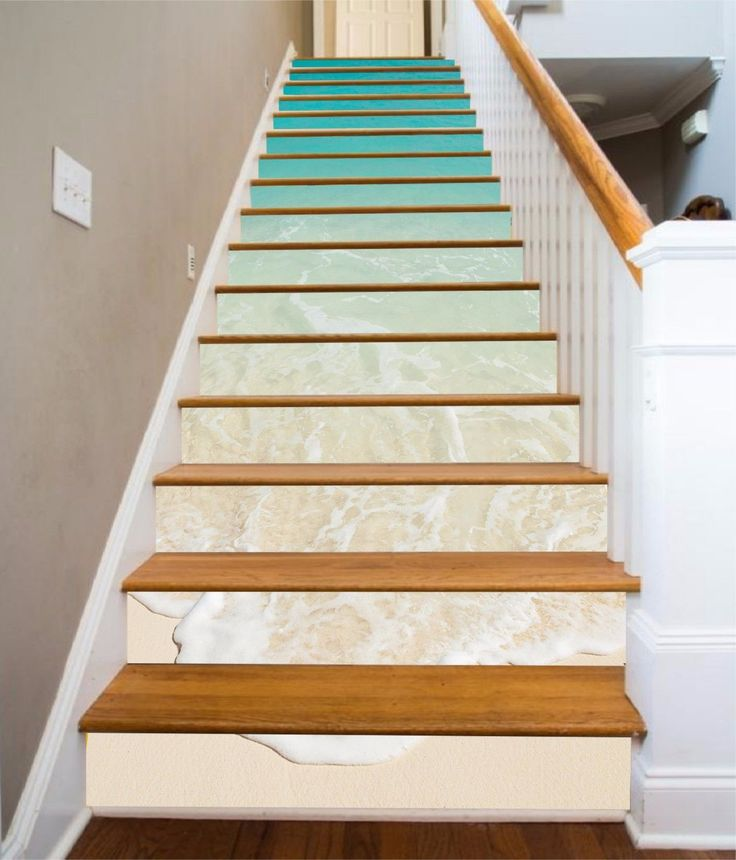 Details About 3d Beach Waves 829 Stair Risers Decoration
