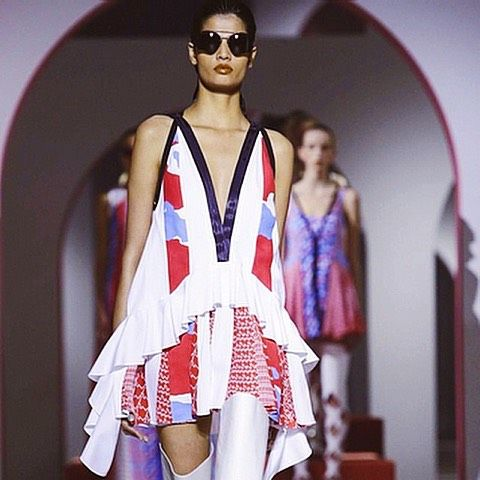 Pleats, peplums and frills, #Kenzo is anything but quiet for #SS16. #PFW #regram eletrikhman