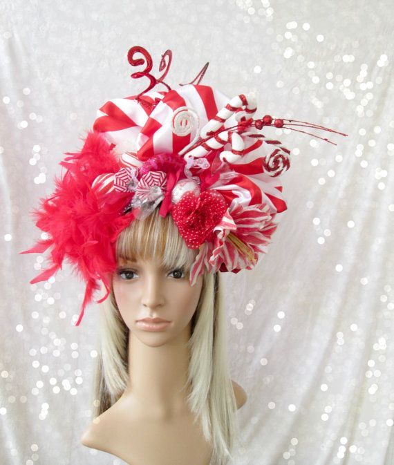 Christmas Head Dress Candy Cane Hat Red And White By