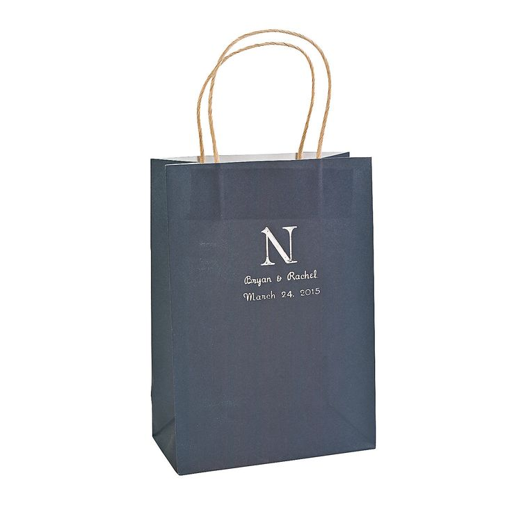 Monogram Navy Blue Kraft Paper Bags - OrientalTrading.com   OR silver, gold $14 for 12