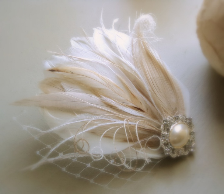 Wedding Fascinator Bridal Head Piece Feather by TheFeatheredEdge, $60.00