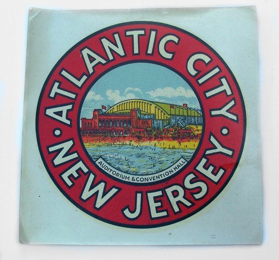 Vintage Decal Atlantic City New Jersey by MargsMostlyVintage