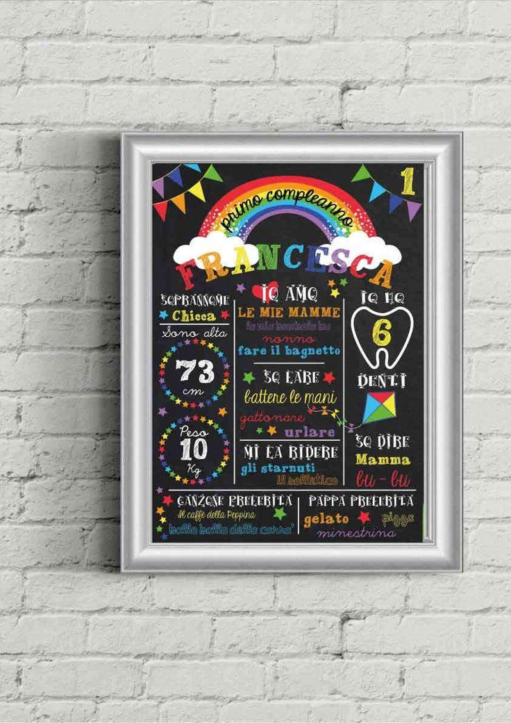 File poster effetto lavagna Primo compleanno tema Arcobaleno, Decorazione personalizzabile festa bimbo bimba da stampare, IN ITALIANO di PaneESogni su Etsy