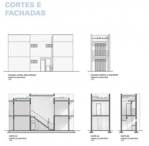 Cortes e elevações. Concurso Habitação para Todos,CDHU.Sobrados - 2º Lugar.<br />Autores do projeto