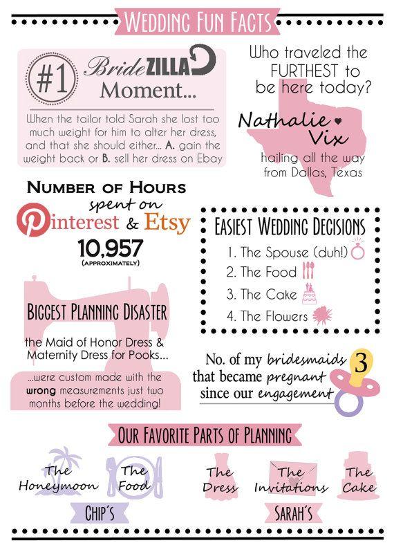 unique wedding program infographic funny personalized bride groom guest wedding fun fact page diy pdf style 2 custom design on et my wedding