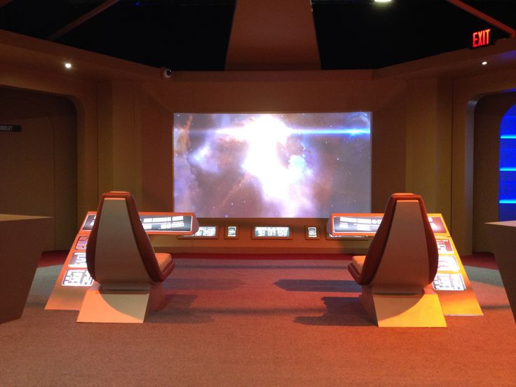 The view from the mock-up deck of the Enterprise in the exhibit Star Trek: The Starfleet Academy Experience at the Aviation Museum, summer 2016.  Engage warp-drive!