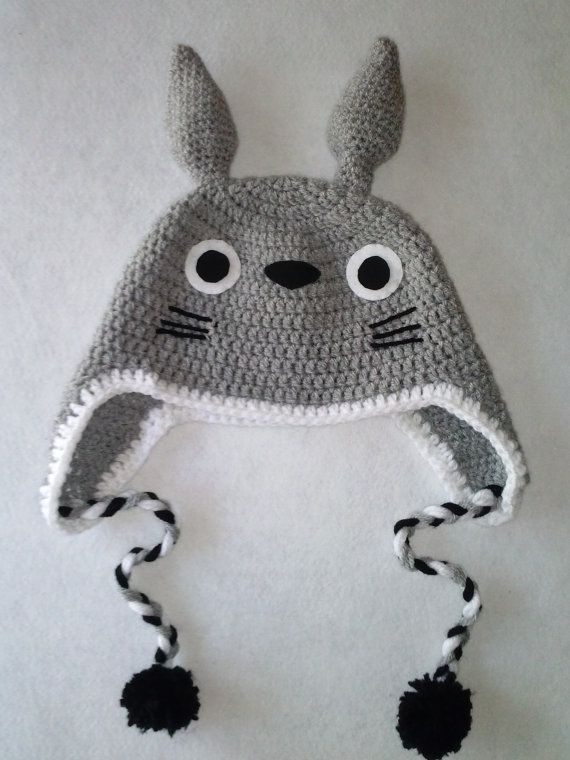 Cute Totoro crocheted hat. Handmade with love, wool and felt