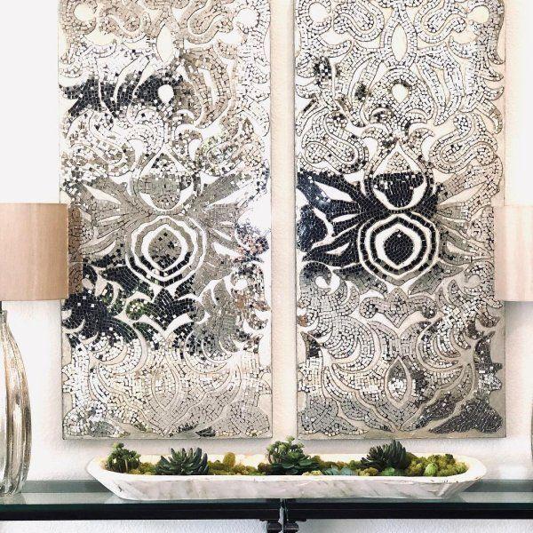 Champagne Mirrored Mosaic Damask Wall Panel Pier 1 Damask Wall Mirror Wall Art Sitting Room Decor