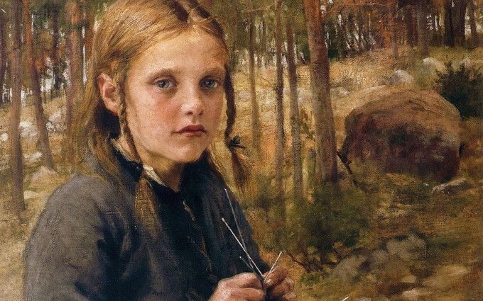 Albert Edelfelt: Sukkaa kutova tyttö (A Girl Knitting Socks), 1886. It's hard to write about a portrait without knowing the sitter, as technically good piece might not match the reality; it's all about how to portray the personality. I'll leave deeper impressions for you to decide, but she seems very stoic considering her age. It's almost like her soul is much older than she actually is. Maybe it's the knitting, that isn't really associated as youthful hobby. Even if that's the case, her…