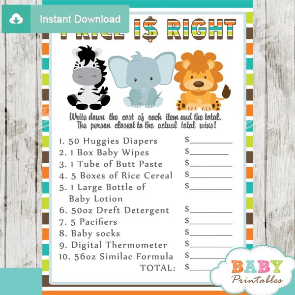 Safari Themed Baby Shower Games Jungle Theme Baby Shower Games Package – D134