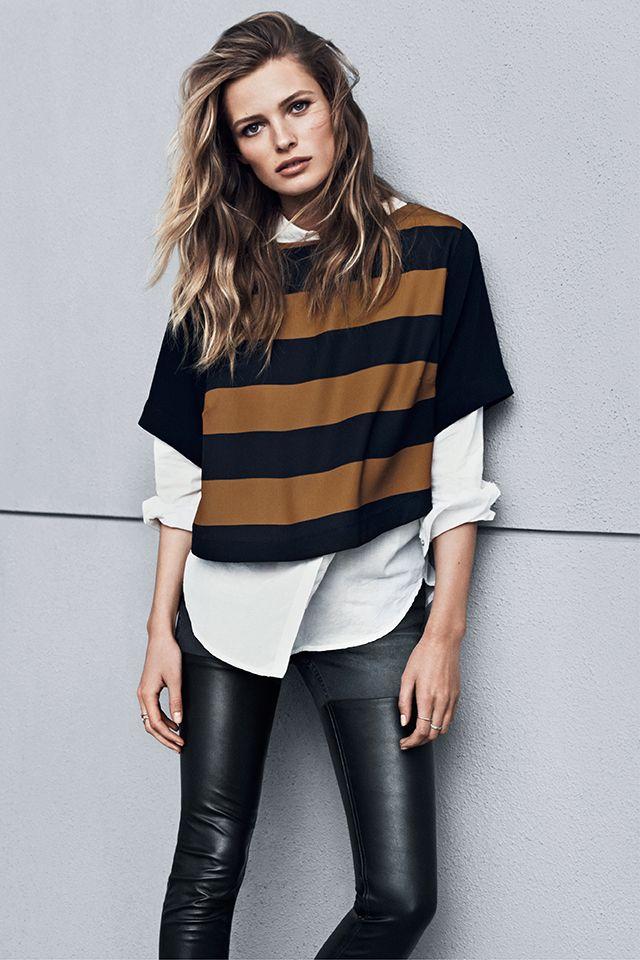 New season, new fashion! | White cotton blouse, striped cropped top and leather pants #HMFall