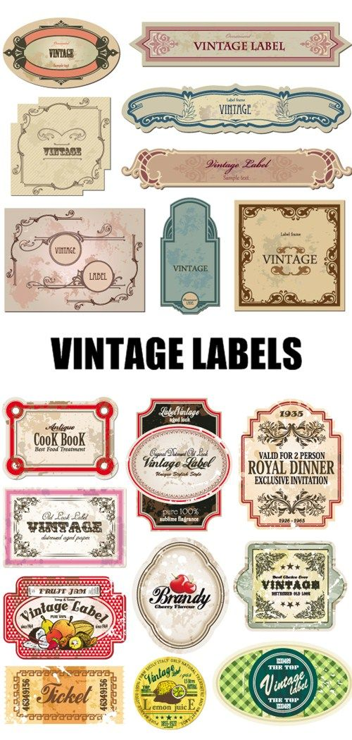 Vintage Labels. would be cute to put on small jars or bud vases as place cards!