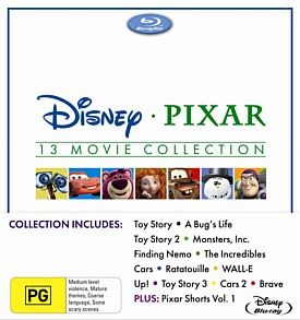 - Disney Pixar Movie Collection (Blu-ray) Exclusive to JB HI-FICollection includes Pixar Shorts Vol 1, Brave, Toy Story, Toy Story 2, Toy Story 3, A Bug's Life, Monsters Inc and more.